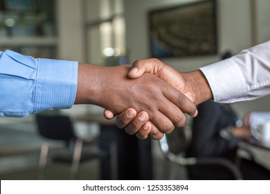 Two People in Long-Sleeved Shirt Shakehand