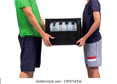 Two people raised plastic crates with water bottles isolated on white background.