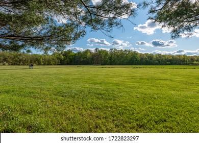 Two people rambling across a field in Davidson Mill Pond Park in South Brunswick, New Jersey.