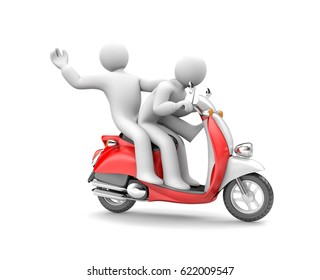 Two people riding on a moped. 3d illustration