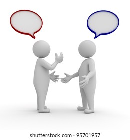 Two people standing and talking with speech bubbles on white background