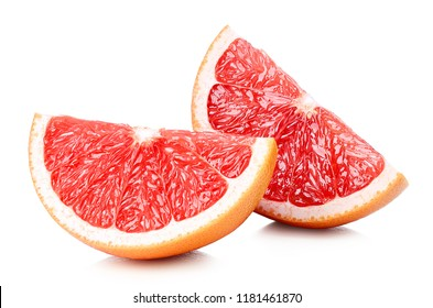 Two perfectly retouched grapefruit slices isolated on white background