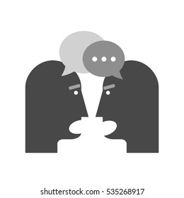 Two person chatting icon. Dispute concept. Symbol in trendy flat style isolated on white background. Illustration element for your web site design, logo, app, UI.