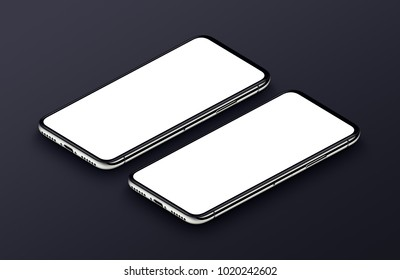 Two perspective view isometric smartphones mockup with white blank screens on black background. 3D illustration.