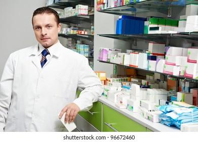 two pharmacist chemist women working in pharmacy drugstore
