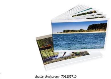 Two of photo album on white background.