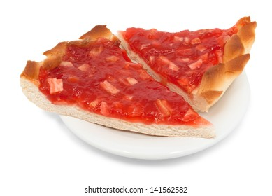 Two piece of pie with strawberry jam  isolated on white saucer