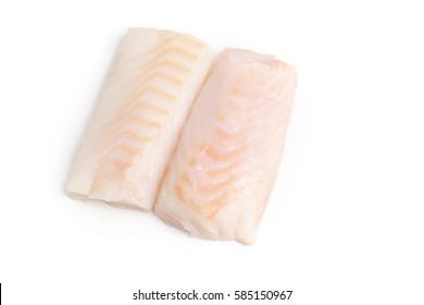 two a piece raw cod,  fish on white  background