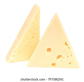 Two pieces of cheese isolated on white background