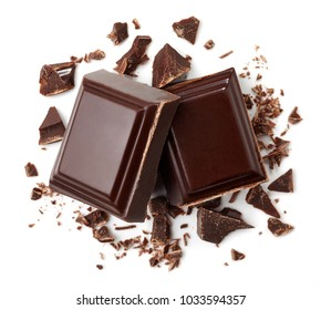 Two pieces of dark chocolate isolated on white background. Top view
