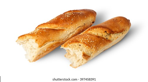 Two pieces of French baguette beside isolated on white background