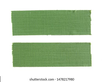 Two pieces of green cloth gaffer tape isolated on white background.