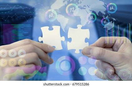 two pieces of jigsaw puzzle and various business information.