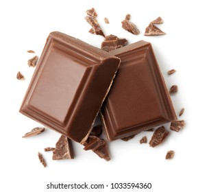Two pieces of milk chocolate isolated on white background. Top view