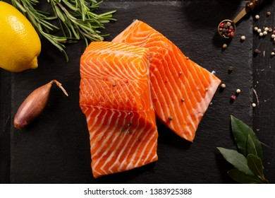 Two pieces of raw fish