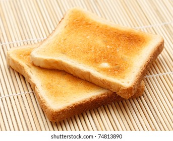 Two pieces of toast on the table