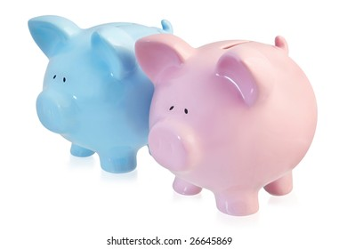 Two piggy banks, one pink and one blue, isolated on white.  A handsome couple!