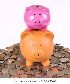 Two piggy banks for saving money