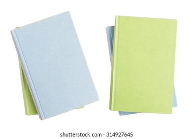 Two pile of isolated books with empty covers, clipping path