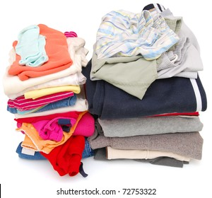 Two piles of family laundry