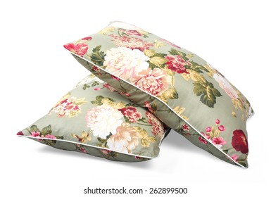 Two pillows flowered isolated