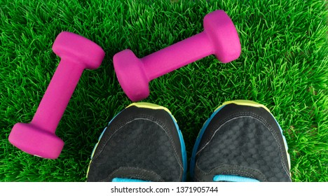 Two pink dumbbells and shoe tips of sneakers in the grass