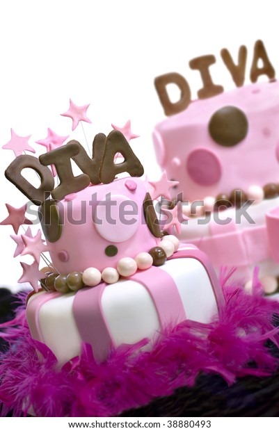 Astonishing Two Pink Fondant Cakes Diva Spelled Stock Photo Edit Now 38880493 Personalised Birthday Cards Bromeletsinfo