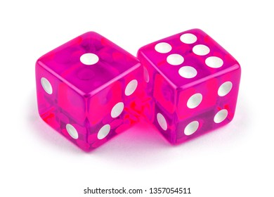 Two pink glass dice isolated on white background. One and six