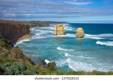 Two pinnacles of rock at The Twelve Apostles in Port Campbell National Park, Australia.