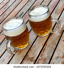 Two pints of Czech beer