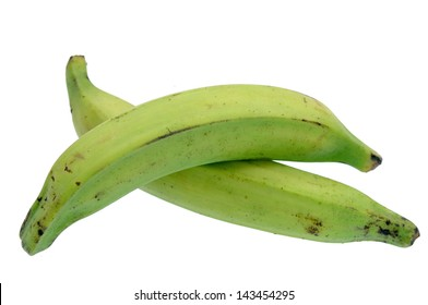 two plantain banana isolated on white