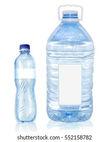 two plastic bottle of water isolated on white background empty label