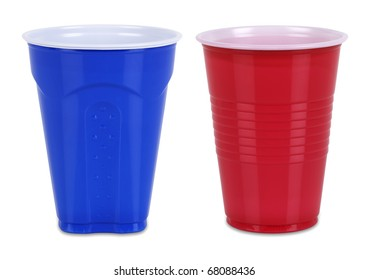 Two Plastic cups isolated on white with individual clipping paths