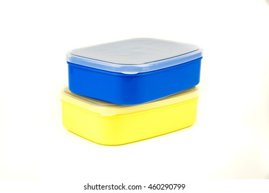 Two plastic food carrier on white background