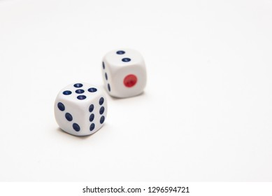 Two playing dice on a white background in the studio