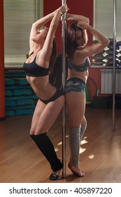 Two Pole-Dancer girls posing with a pole in the gym