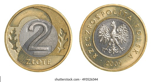 two Polish Zloty coin isolated on white background - Shutterstock ID 493526344