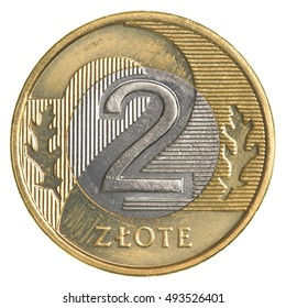 two Polish Zloty coin isolated on white background - Shutterstock ID 493526401
