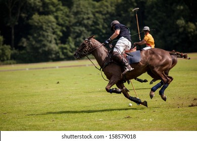 Two Polo Player are fighting in movement around the polo ball.