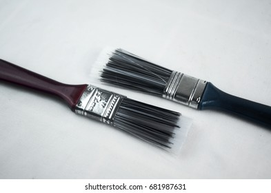 two polyester wall paint brush on white background