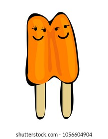 Two popsicles with faces, isolated on white