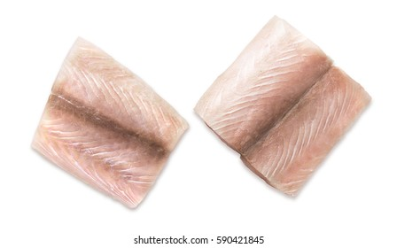 Two Portion of fresh fish fillets mahi mahi on a white background