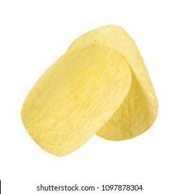 two potato chips on white background