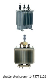 two powerful modern energy-saving electric transformers isolated on a white background