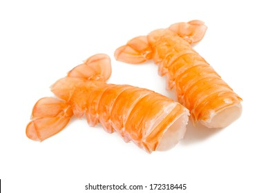 Two prawn tails isolated on white background