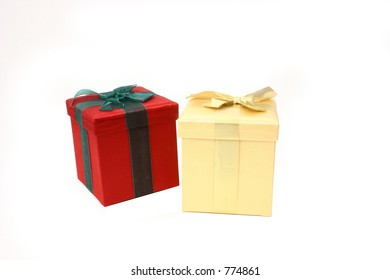 Two Presents Over White