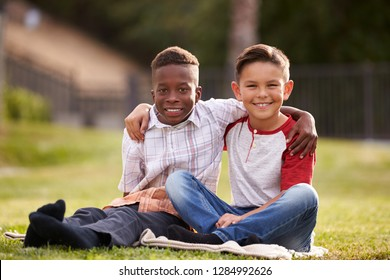 Two pre-teen male friends sitting on the grass in a park, arms around each other, looking to camera