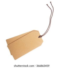 two price tag on waxed cord from recycled paper, white background
