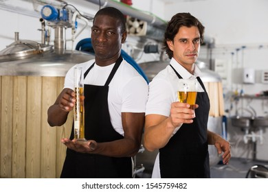Two professional brewers showing glass and flask of beer  in  brewer factory