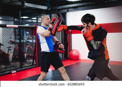 Two professionals fighters training together with punching pads at gym